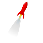 Vector clip art of red cartoon rocket launched into space