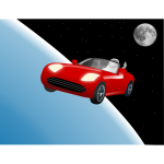 Red roadster car in space