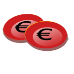Image of red euro coins