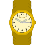 Vector drawing of gold wristwatch