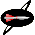 50s style color rocket ship vector image