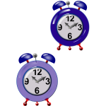 Graphics of two old style purple clocks