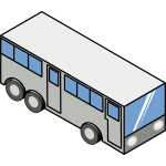 Grayscale bus vector illustration