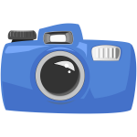 Vector drawing of cartoon blue underwater camera