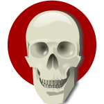 Vector drawing of human skull over a red circle
