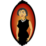 Vector image of woman in black oval portrait