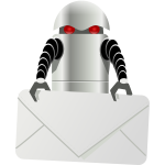 Robot carrying envelope vector clip art