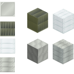 Vector illustration of set of metallic tiles and boxes