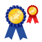 Medal of achievement blue and red vector image