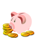 Piggy bank with coins around it vector graphics