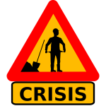 Vector clip art of money crisis warning roadsign