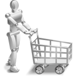 Robot with a shopping trolley vector image