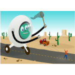 Alien running behind man vector illustration