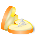 Wedding ring in a heart shaped box vector graphics