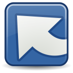 Blue and white illustration of upload icon