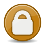 Vector image of brown security icon