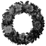 rose wreath grayscale