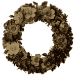 rose wreath sepia