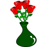 Vector drawing of roses pot