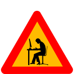 Vector image of man at computer warning road sign