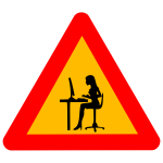 Vector graphics of woman at computer warning road sign