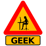 Vector drawing of woman geek warning road sign