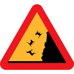 Vector drawing of raining cats and dogs warning road sign