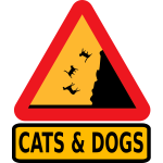 Vector illustration of falling cats and dogs warning road sign