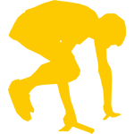 Silhouette vector graphics of runner start