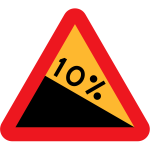 10% downward gradient from the left side vector clip art