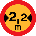 No vehicles with width over 2.2 meters traffic sign vector drawing