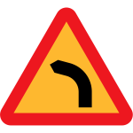 Dangerous bend to left traffic sign vector image