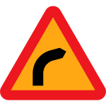 Dangerous bend to right traffic sign vector clip art