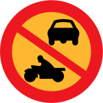 No motorbikes or cars traffic sign vector graphics