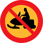 No snowmobiles traffic sign vector drawing