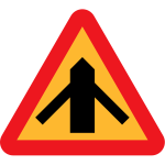 Traffic merging from left and right sign vector clip art