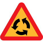 Vector drawing of roundabout traffic sign warning
