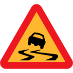 Slippery road traffic symbol vector image