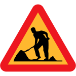Workmen ahead road traffic sign vector clip art