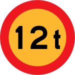 No vehicles over 12 tons of weight vector road sign