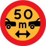 50m between cars vector sign