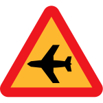 Low-flying aircraft vector road sign