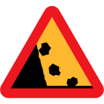 Falling Rocks Vector Road Sign