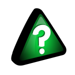 Vector drawing of question mark in green triangle