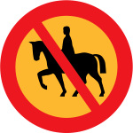 No ridden or accompanied horses vector road sign