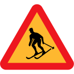 Forbidden for skiers vector sign