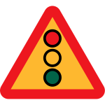 Traffic lights ahead vector sign