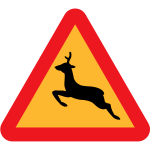 Warning for deer traffic sign vector