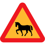 Horse on road vector traffic sign
