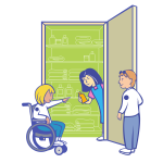 Disabled kid in front of food cupboard vector drawing